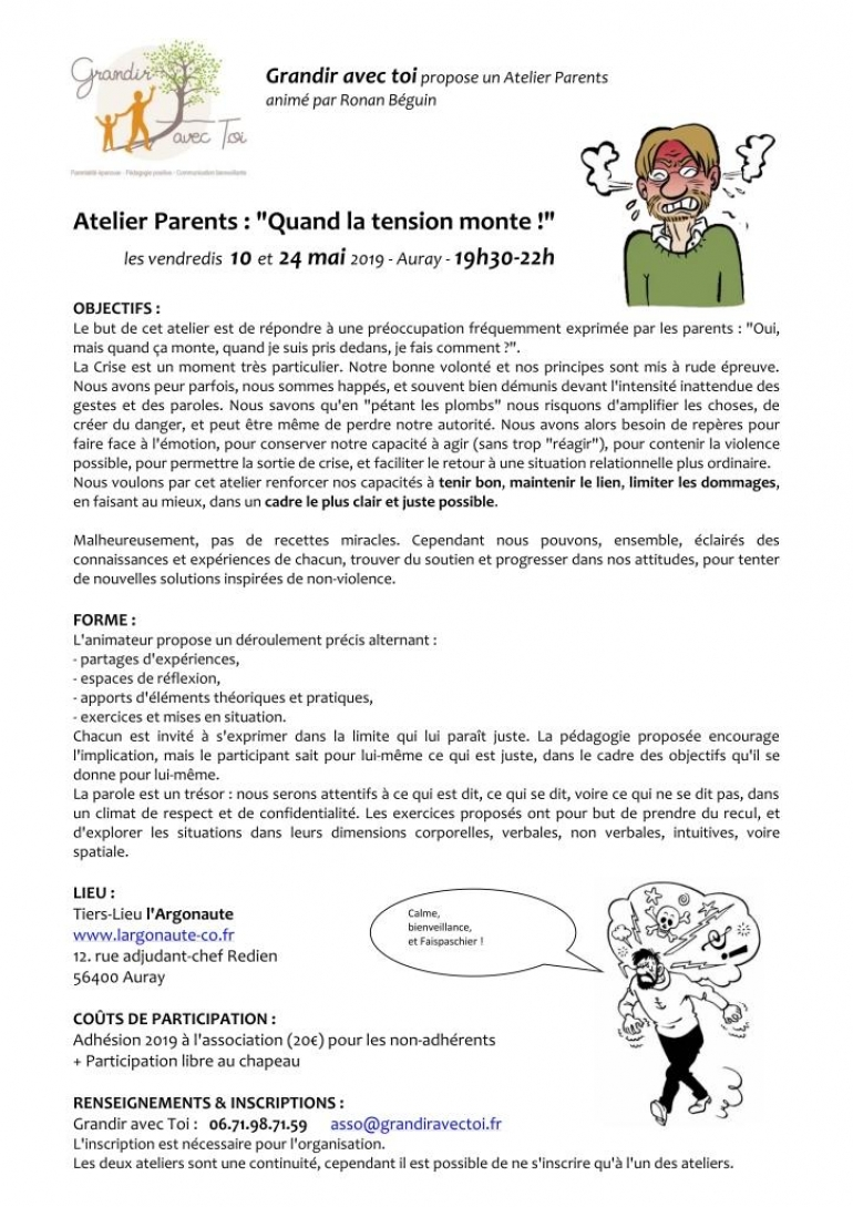 "Atelier Parents à Auray : ""Quand la tension monte !"""
